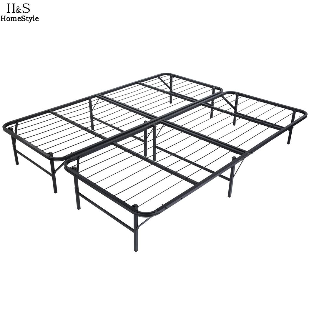 Homdox King Size Metal Folding Platform Bed Frame Base Mattress Foundation Black(China (Mainland))