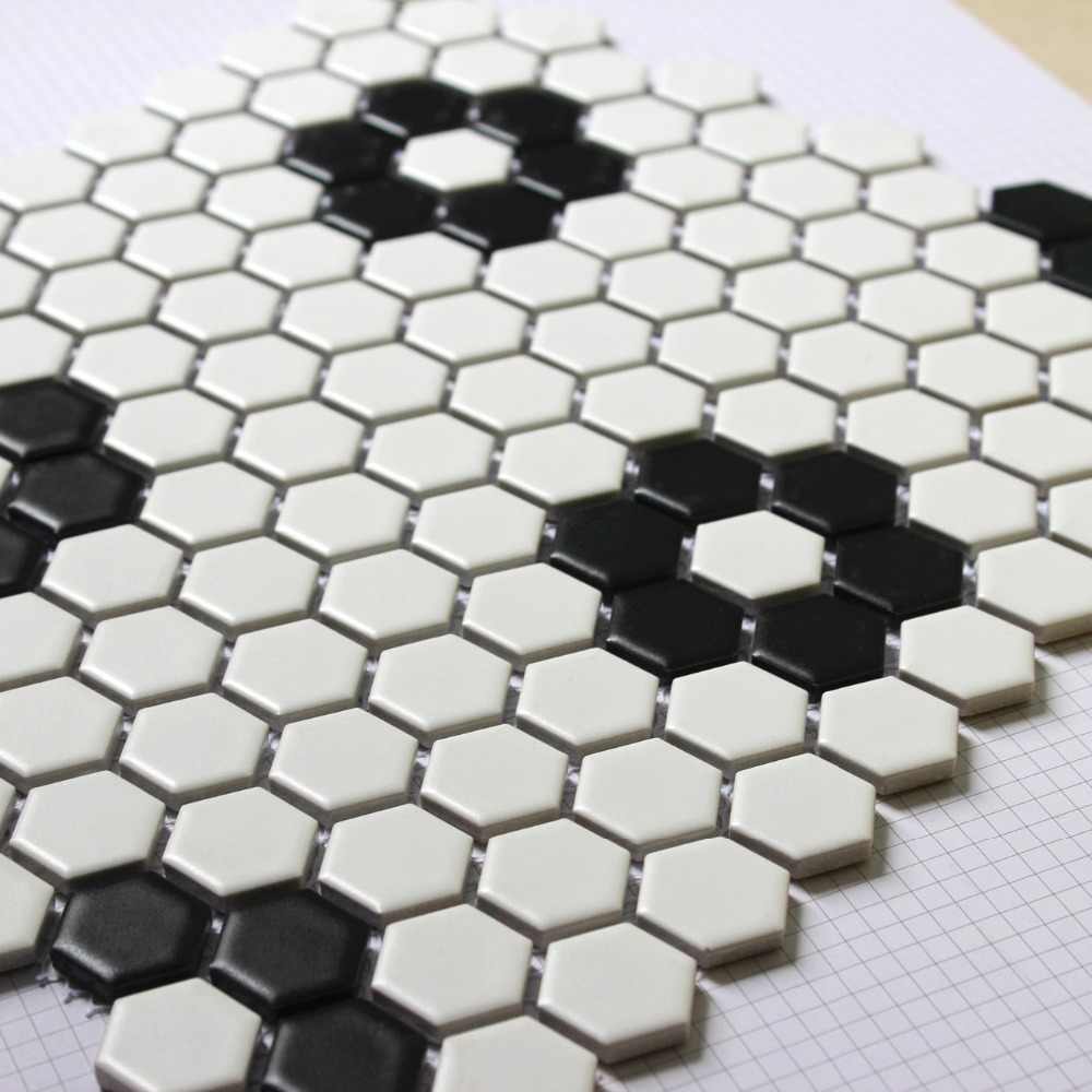 Buy Hexagon Mosaics Tile Black And White