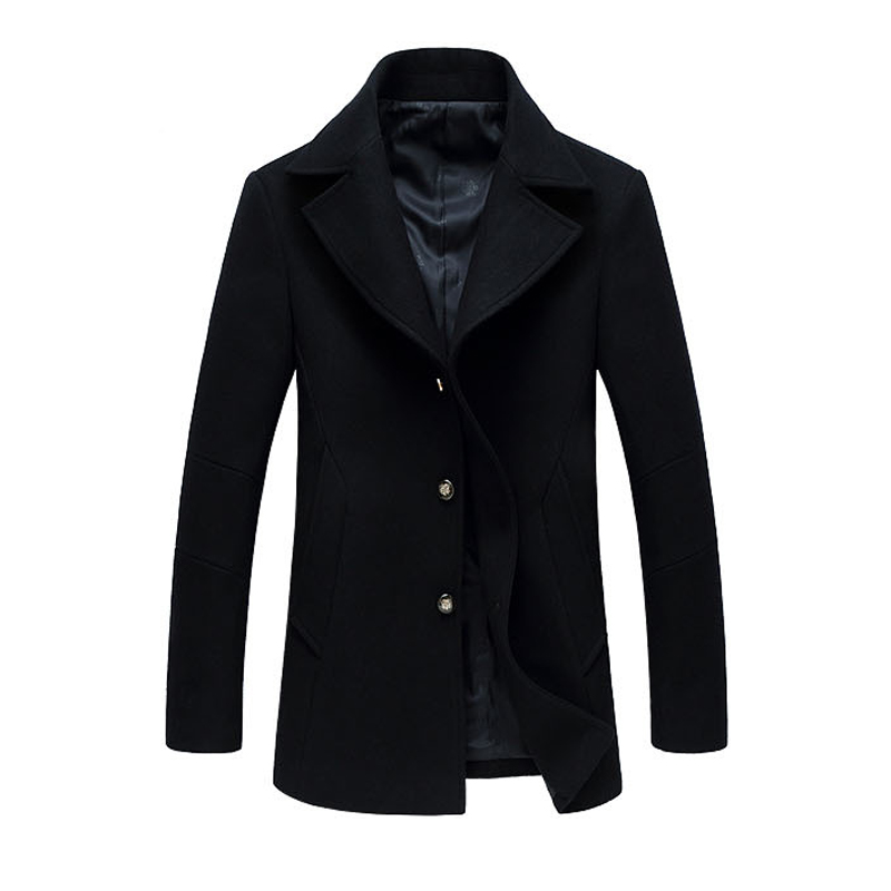 New Arrivals Solid Single-Breasted Wool Men Pea Coat Turn-Collar Mens Jackets And Coats Cardigans Male Overcoat Fashion Men Coat(China (Mainland))
