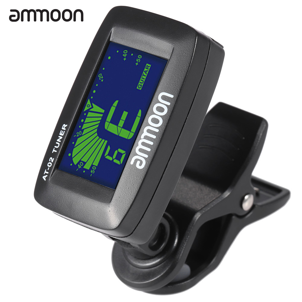 ammoon AT-02 Top Quality Guitar Tuner Clip On Tuner Universal Digital Electric Tuner for Chromatic Guitar Bass Ukulele Violin(China (Mainland))
