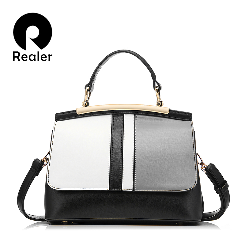 REALER brand new women handbag black and white stripe tote bag female shoulder bags high quality PU leather purse handbags(China (Mainland))