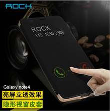 Rock Dr.V invisible Luxury Transparent View Window Smart Case For Samsung Galaxy Note 3 Note 4 Note 5 S6 / Egde Plus Phone Case(China (Mainland))