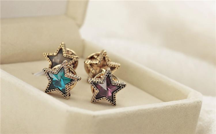 Vintage Shirt Collar Rhinestone Crystal Star Collar Brooch Pin jewelry Garment Accessories Jewelry Collar Decoration 4Pcs/Lot(China (Mainland))