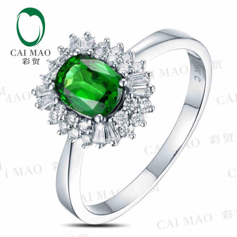 CaiMao 18KT/750 White Gold 1.06 ct Natural Tsavorite  &amp; 0.36 ct Full Cut Diamond Engagement Gemstone Ring Jewelry<br>