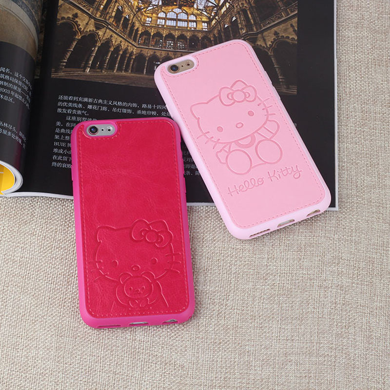 Pu Leather Cute Cartoon Hello Kitty Case For iphone 6 6s 6plus 7 7 plus Pink Red Black White Lovers TPU Phone Case Back Cover(China (Mainland))