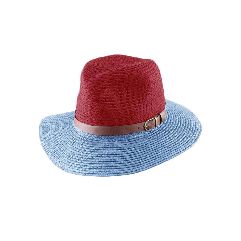 Korean Fashion Fedora Hat Leather Belt Color Block Panama Hat Beach Sun Straw Hat Unisex 3 Style Color Chapeu Feminino(China (Mainland))