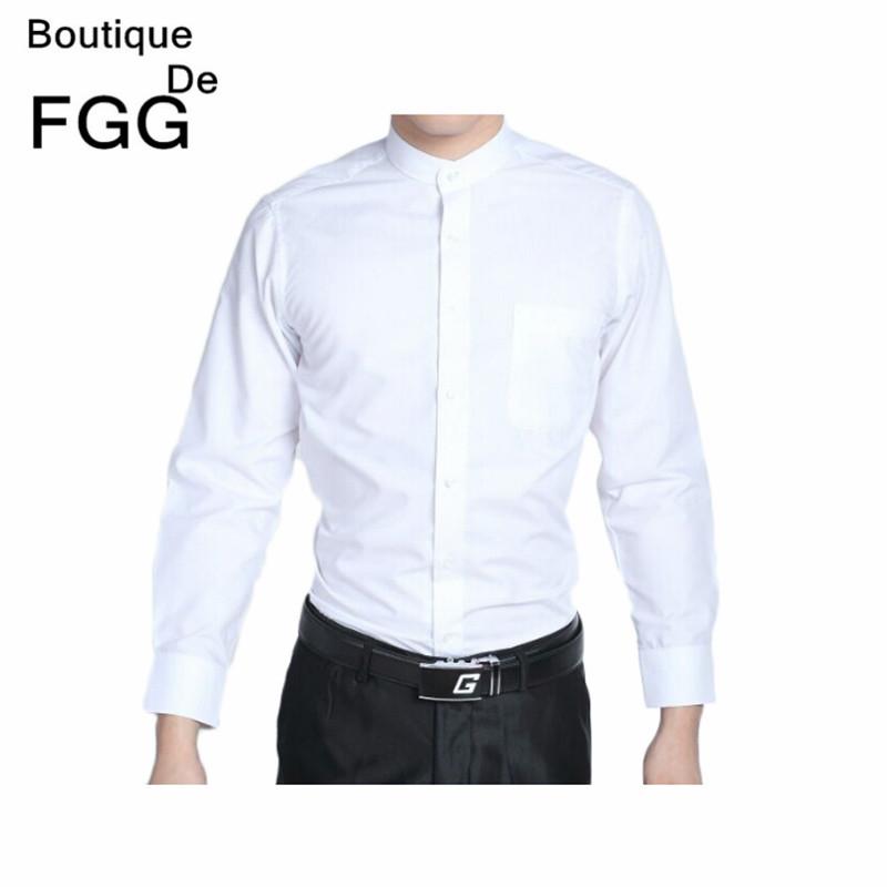 Groom White Chinese Tranditional Mandarin Collar Tuxedo Shirts Long Sleeve Wedding Party Prom Shirt Slim Fit Men Business Shirts(China (Mainland))