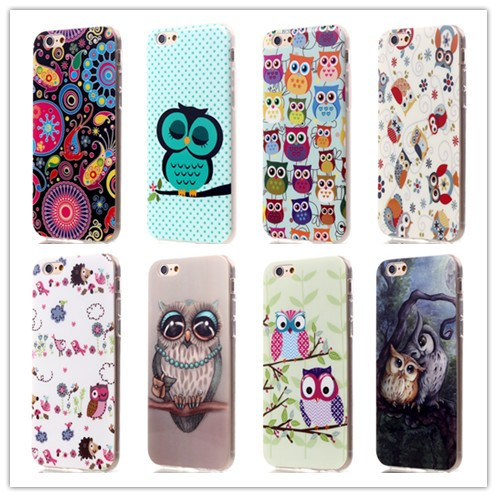 """Wholesale New Cute Cartoon Owl Pattern Soft TPU Case For Apple iPhone 6 6S Case 4.7"""" Cover Phone Bag Protective Shell(China (Mainland))"""
