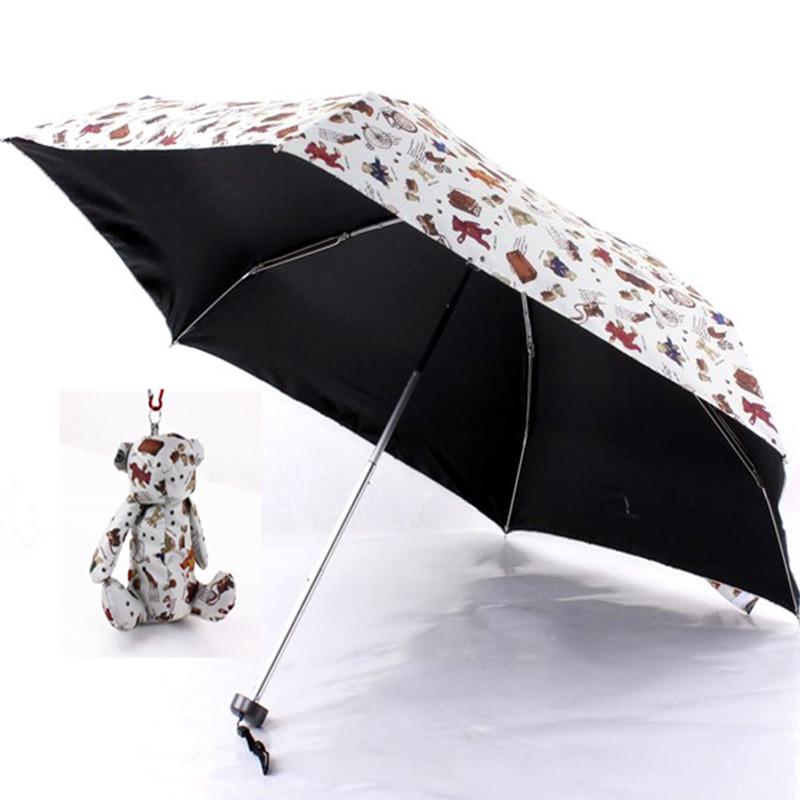 2016 New arrive cartoon style rain umbrella 6K bone sun umbrella cute children umbrella easy to bring out three folding umbrella(China (Mainland))