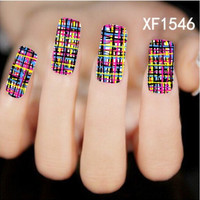 Colored lines Pattern New Arrival Water Transfer Nail Art Stickers Decal (HNR-XF1546)
