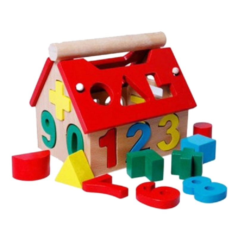 Гаджет  Wooden Building block houses Toy Geometry House Digital Number Children Educational Intellectual Blocks Gift None Игрушки и Хобби