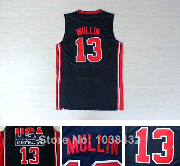 Wholesale Top Quality #13 Chris Mullin USA 1992 Dream Team Basketball Jersey Name&Logos All Stitched Embroidery Size S-2XL(China (Mainland))