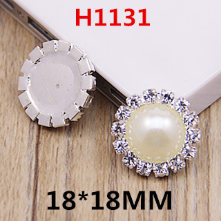 18mm hot sale flat back silver pearl rhinestone button phone case sticker with rhinestone diy decoration 20pcs/lot free shipping(China (Mainland))