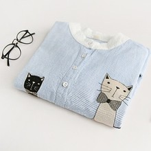 Sky blue striped cat mon and baby kitty embroidery kawaii shirt blouse autumn female(China (Mainland))