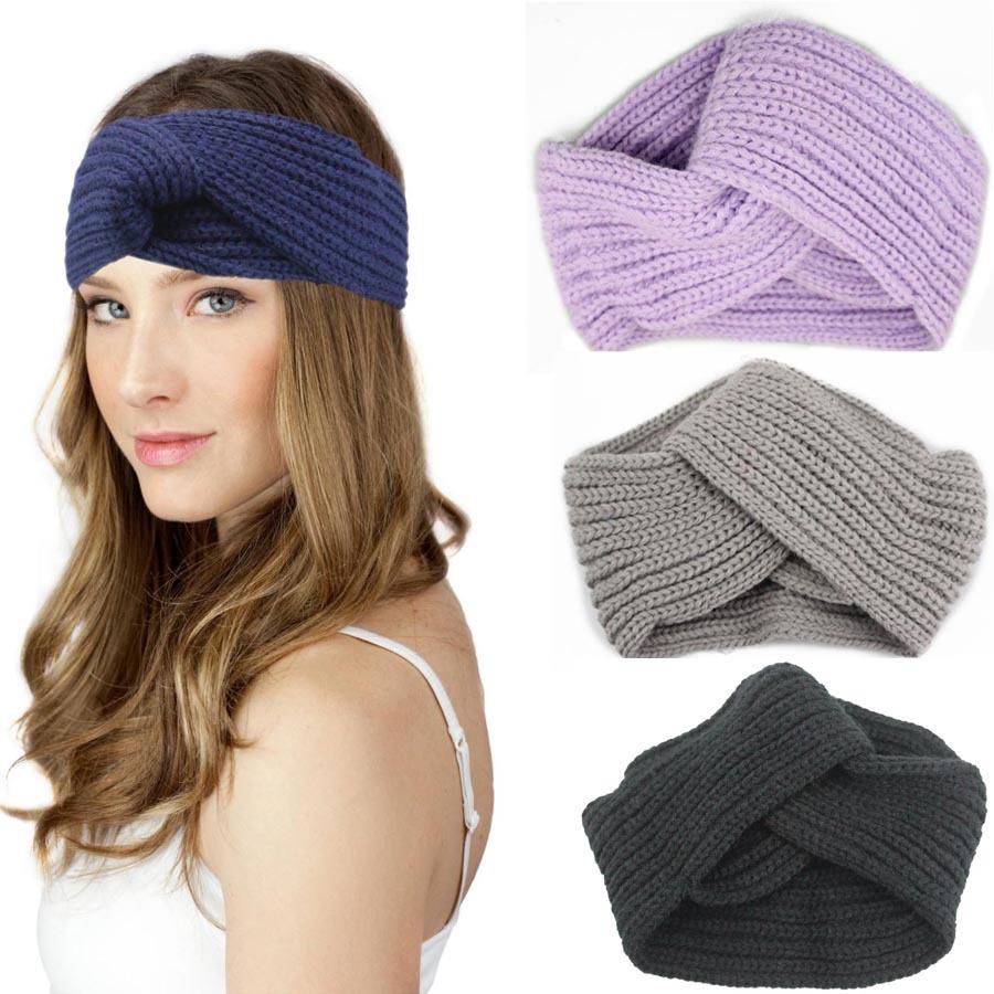 Retail fashion lady headband Twist Wide Hair Band Knitted cross Turban for Women Ear Warmer Head Wraps Accessories(China (Mainland))