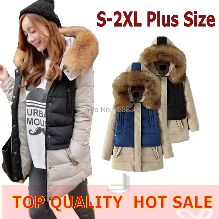 2014 Winter coats jackets plus big size Parka women's coat jacket new fashion casual thick hooded outerwear blue black - No.1 works store