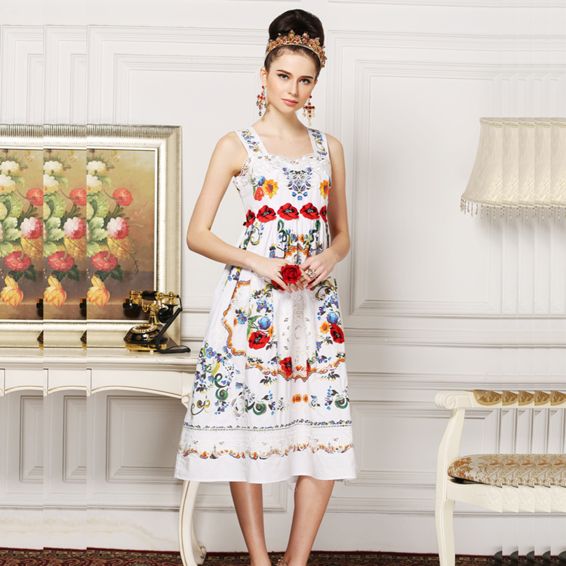 New 2016 runway fashion women spring designer Dress elegant lace embroidery brand midi dress casual vinatge dress D5560