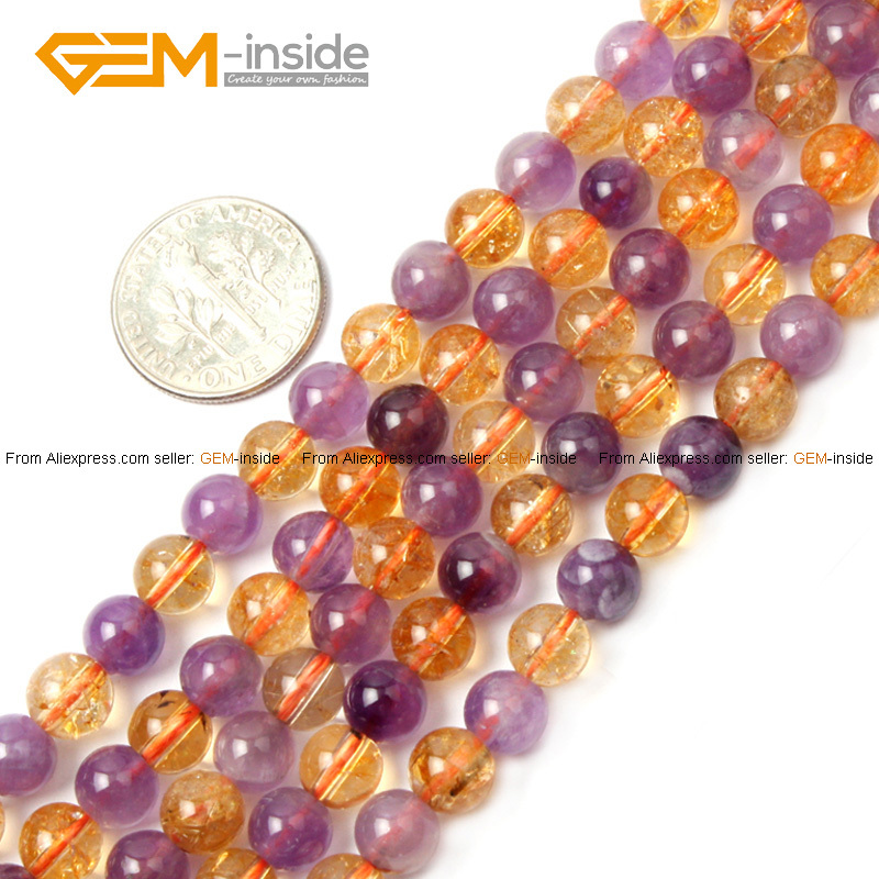 Natural Round Amethyst & Citrine Beads For Jewelry Making 6-14mm 15inches DIY Jewellery FreeShipping Wholesale Gem-inside(China (Mainland))