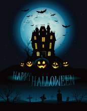 Halloween Photography Backdrops For Photos Digital Printed Castle With Flying Bat Photo Backdrops Photo Studio