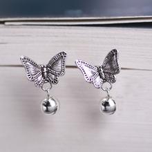925 Sterling Silver Earrings For Women Vintage Korean Butterfly Ear Rings Studs Earings Brincos Jewelry Wedding Gift Bijouterie(China (Mainland))