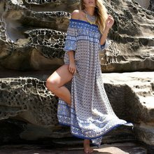 Fashion ZANZEA Boho Vestidos 2016 Summer Women Sexy Off Shoulder Long Maxi Dress High Split Print Casual Loose Beach Dresses(China (Mainland))