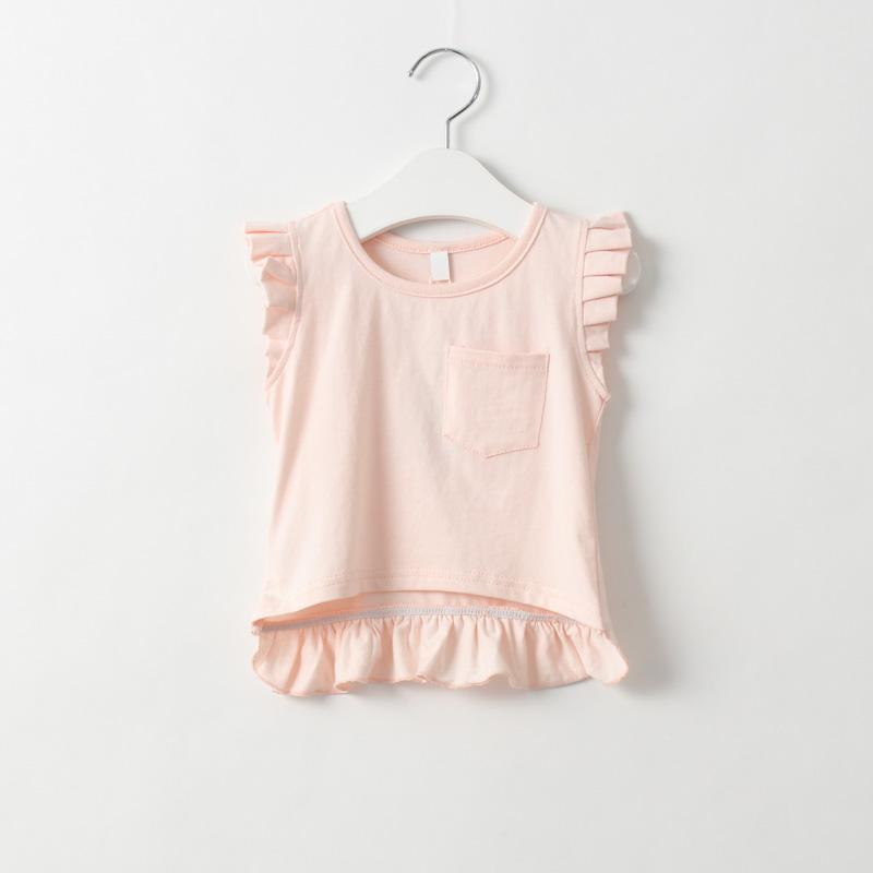 2016 new pink baby girls sweet solid color pocket T-shirt Children T-shirt boy short T-shirt tops children tees()