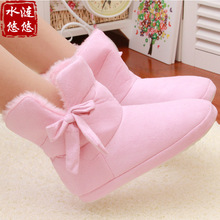 New Cotton Slippers Home Warm Snow Winter shoes Thick Barreled Home Floor Slippers Women Bow Shoes Pink And Brown For Lovers(China (Mainland))
