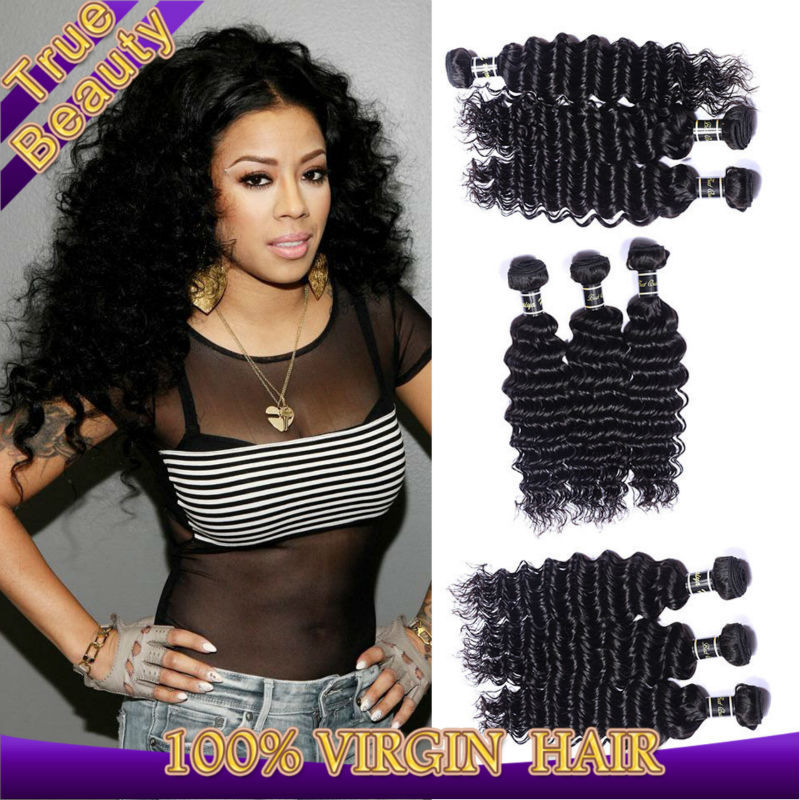 indian virgin hair deep curly 3 bundles/lot cheap human hair extensions natural black indian remy hair canbe dyed, free shipping(China (Mainland))