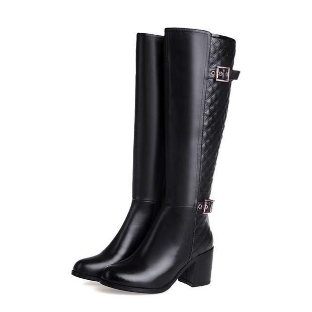 2014 New Genuine Leather Women Boots Fashion Ladies Knee High Boots