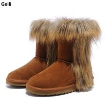 Geili Nuevas Mujeres Calientes del Invierno Botas de Nieve Caliente zapatos de Cuero Genuino de las mujeres Botas Cortas de Algodón de Tamaño 36-41(China (Mainland))