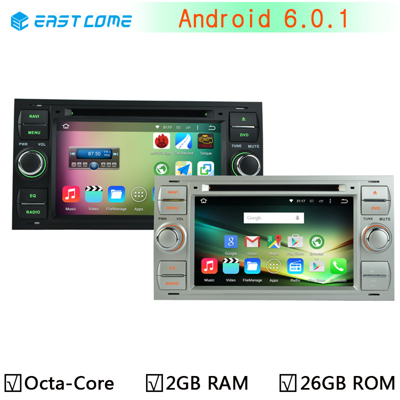HD 1024*600 Octa Core Android 6.0.1 Car DVD Stereo Radio Player For Ford Focus Kuga Mondeo Connect Transit Fiesta GPS navigation(China (Mainland))