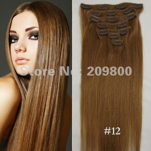 "Guarantee 100% human hair 15""/18""/20""/22"" 1Set  7pcs clip in on  Straight  Human hair Extensions #12-light brown"