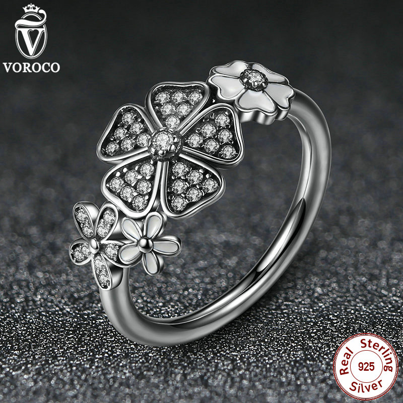 925 Sterling Silver Shimmering Bouquet White Enamel Clear CZ Flower Finger Rings for Women Compatible with Pan Jewelry A7176(China (Mainland))