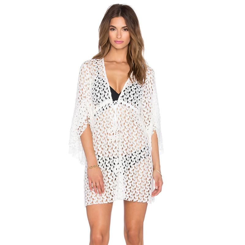 @2016 Women Sexy Hollow Crochet Lace De Plage Loose Sunscreen Bikini Overclothes Beach Dress Bathing Suit Cover-ups DRE0027(China (Mainland))