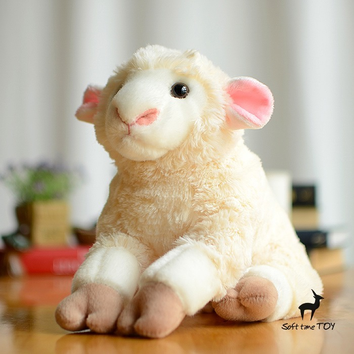 Free shipping white lovely doll simulation sheep sheep plush toys, birthday, Christmas gift cute baby toys(China (Mainland))