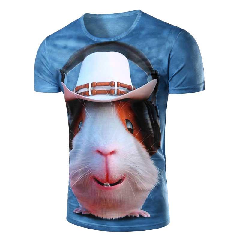 New 3D Computer Mouse wearing headphones printing Men's T Shirt short sleeve, Fashion O Neck Animal T-Shirts High quality M-XXL(China (Mainland))