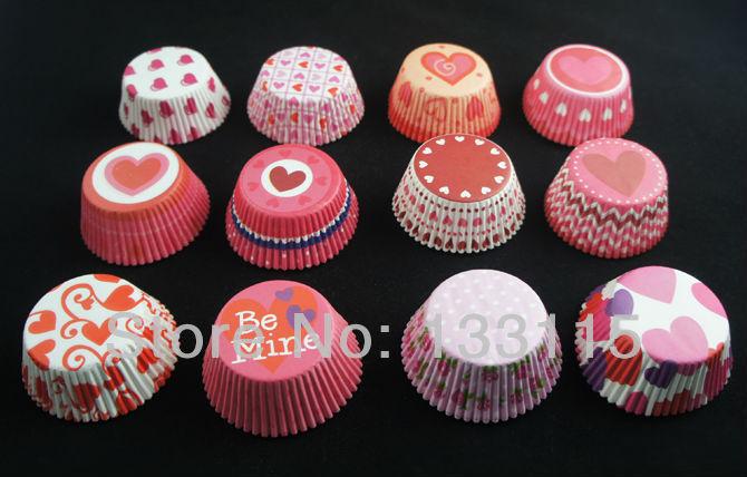 Cupcake Paper Design : DIY 200PCS heart design paper cupcake liners baking cup ...