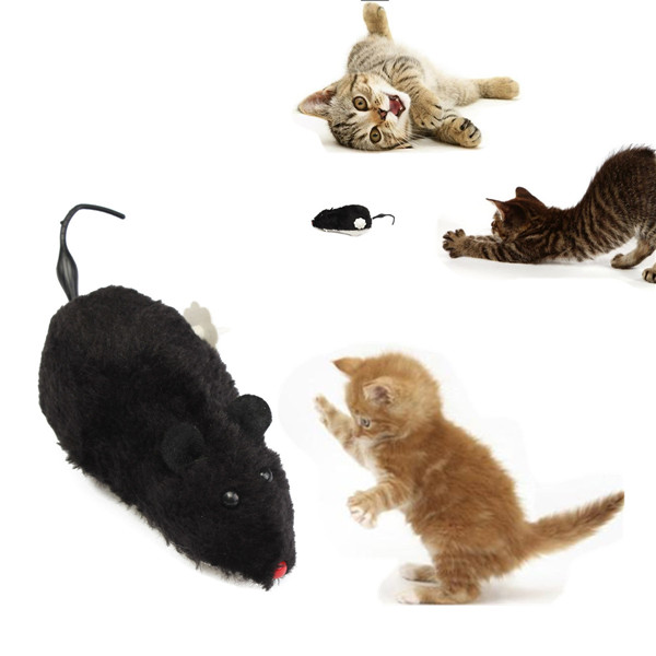 New Funny Wind Up Furry Running Mouse Rat Moving Tail Kitten Prank Toy Joke Gag Gift(China (Mainland))