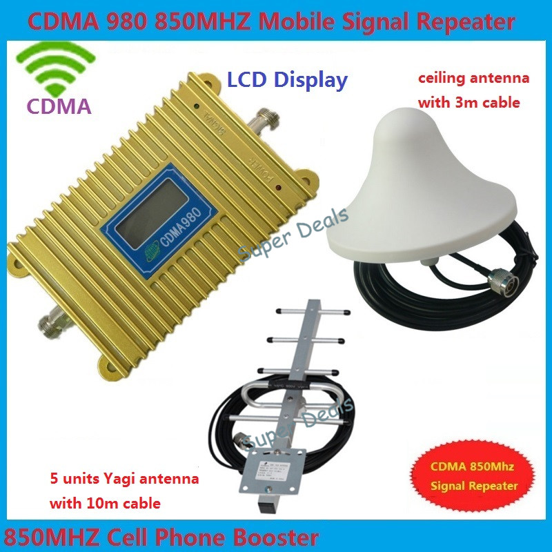 LCD display new model CDMA 980 850Mhz signal booster repeater amplifier Coverage 2000 Sqs+yagi antenna+Ceiling antenna+3m cable(China (Mainland))