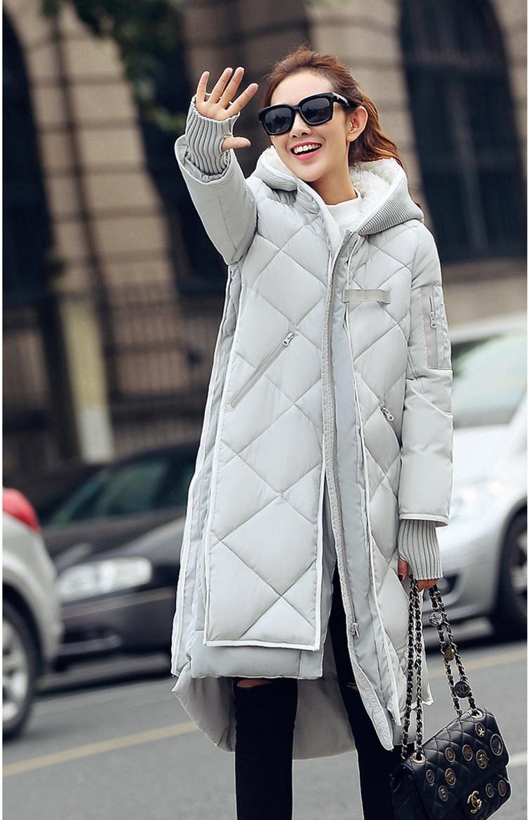 Скидки на Новая мода Зима Женщины ватник Женщины Тонкий длинные Вниз хлопка Ватные Пальто Женщин Толстовки Парки Плюс Размер