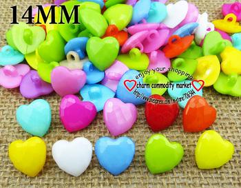200PCS heart shape button mix wholesale PLASTIC children buttons craft P-098