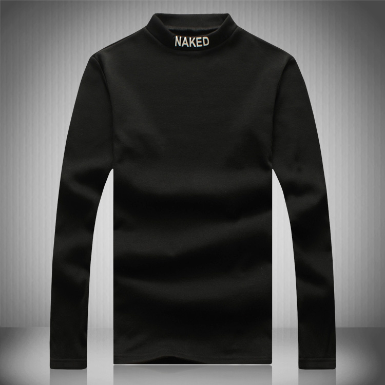 100 cotton plus thick velvet high neck sleeve mens t for Thick white cotton t shirt