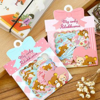 T47 Kawaii Cute Bow Package Romantic Rilakkuma Clear Mini Stickers Phone Bottle DIY Decorative Stick Label Kids Gift Decor