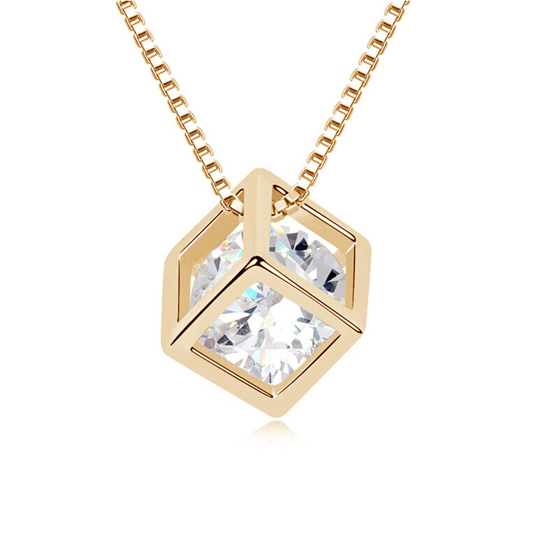 ashion eight heart eight arrow love zircon jewelry happy cube short clavicle Necklace Pendant(China (Mainland))