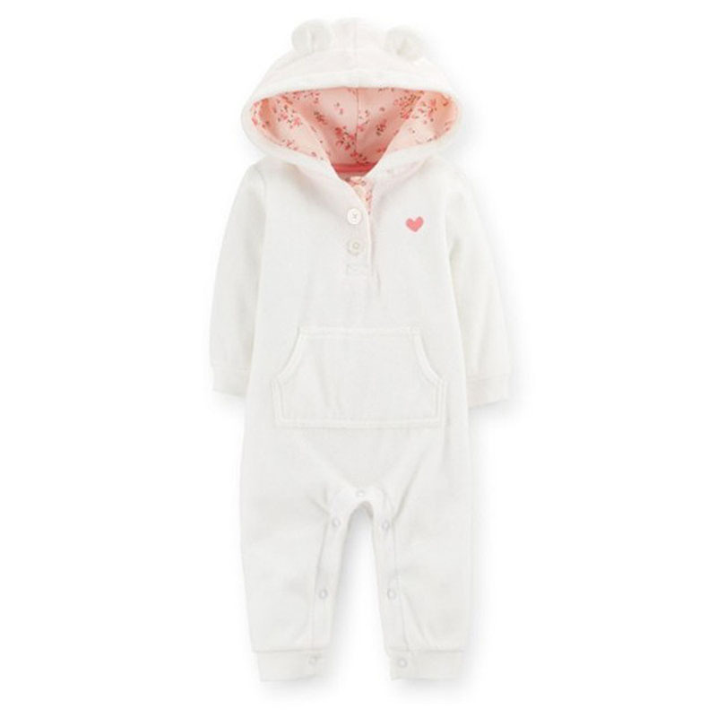Free Shipping Carter s Baby Girls Baby Boys Hooded Microfleece Jumpsuit Babies Rompers Newborn Infant Carters