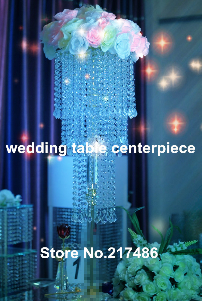 Crystal decorative table stand centerpiece with bead for home & party event decoration(China (Mainland))