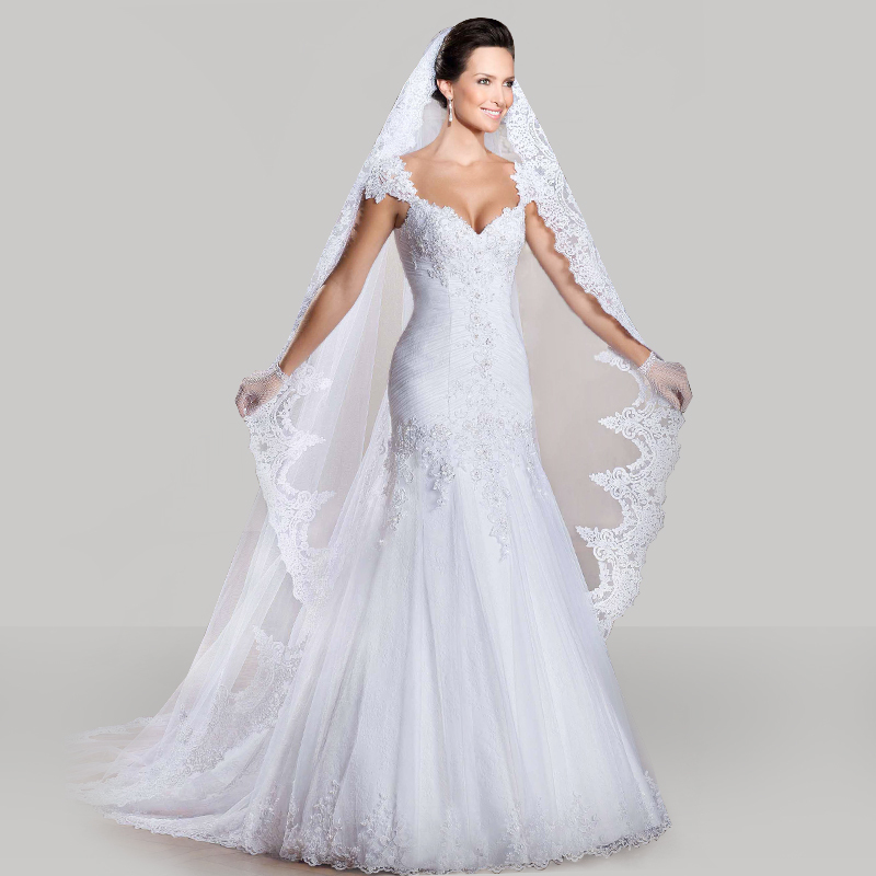 Custom Made 2015 Vestido De Noivas New Design Backless Appliques Lace Up Back Bridal Gown Wedding Dresses With Detachable Train(China (Mainland))