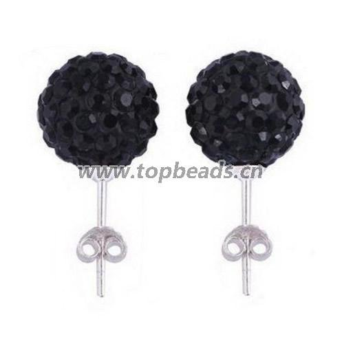 6mm Shamballa clay Crystal Ball earring, 925 sterling silver shamballa earring stud,Sold by pair<br><br>Aliexpress