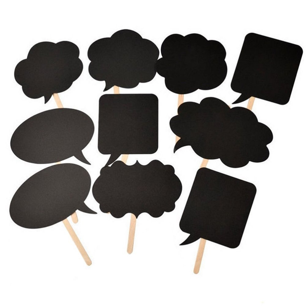 244w New 10 Pcs Photo Booth Prop DIY Bubble Speech Chalk Board Wedding Party Photobooth Free Shipping(China (Mainland))