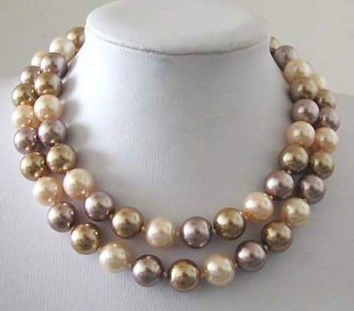 """Charming women 2015 high quality 12mm Multicolor South Sea Shell Pearl Long Necklace 34"""" DIY Design Wholesale and retail(China (Mainland))"""